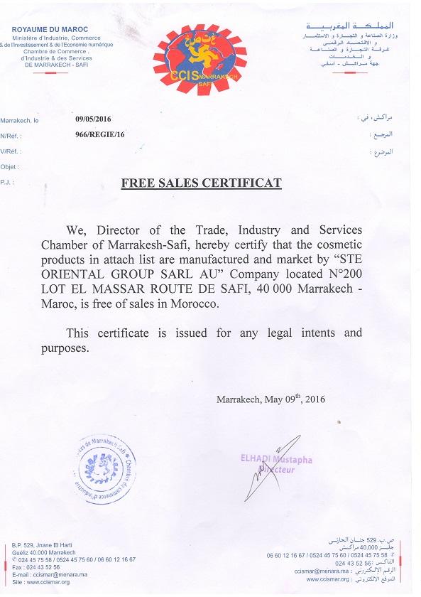 FREE SALES CERTIFICAT page 1